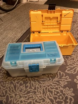 Two Plastic Toolboxes w/ supplies for Sale in Chicago, IL