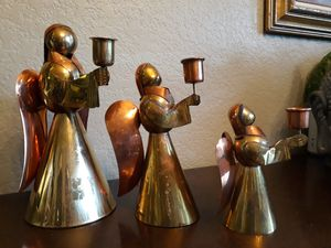 3x vintage brass angel candlesticks for Sale in Seattle, WA