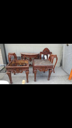 Antique 2 end tables 2 plant stands with mirror and table. for Sale in Savannah, GA