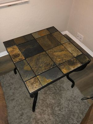 Cast iron side table with stone tile top - MAKE OFFER for Sale in St. Petersburg, FL