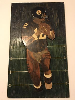 Terry Bradshaw Pittsburgh Steelers Carved Wood Frame 26 x 43 for Sale in Washington, DC