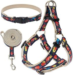 Small Dog Harness and Leash Set with Collar - Heavy Duty & Adjustable Basic Harness No Pull for Small Medium Dogs Flower Pattern for Sale in Oklahoma City,  OK