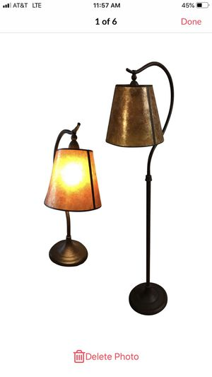 Pottery Barn Mica Floor & Table Lamp - A Pair for Sale in Forest Hills, TN