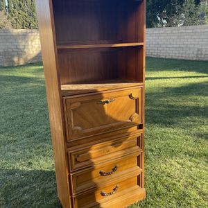 """Bookshelf . Bookshelves . Bookshelf Cabinet With Tray .3 Drawers (Missing One Handle ) Real Wood 76"""" X 30"""" 14""""D for Sale in Bloomington, CA"""