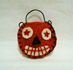 Jack O Lantern Pumpkin Brooch Pin Orange Felt Unique Handmade Artisan Jewelry for Sale in Fayetteville, NC