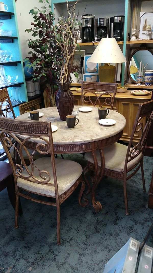 Wrought Iron Dining Room Table Amp 4 Chairs For Sale In
