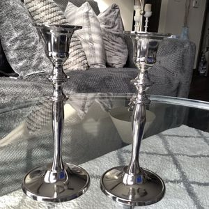 TWO METAL SILVER CANDLE HOLDERS 8 INCH. IDEAL FOR ROMANTIC DINNER, ELEGANT HOME for Sale in Atlanta, GA