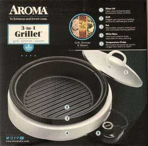 Brand New Aroma 3-in-1 Grill Seamer & Steam Indoor Electrical Grillet Aluminum Pot. for Sale in El Cajon, CA