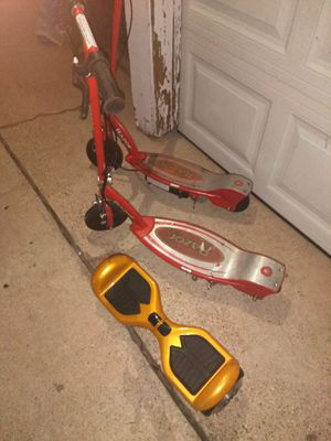 2 razor scooters and huverboard need chargers for Sale in Mansfield, TX