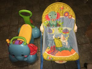 Fisher price baby rocker and ride on toy for Sale in Austin, TX