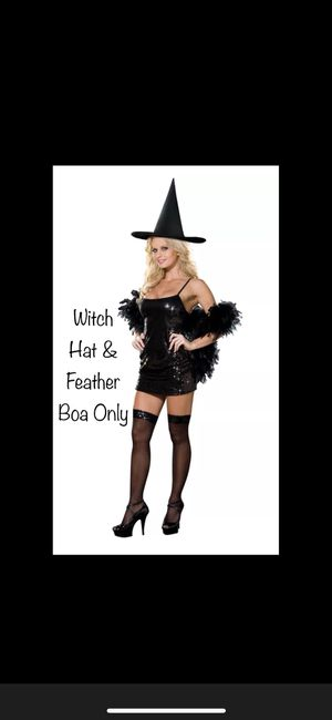 Halloween Witch Hat and Feather Boa Costume for Sale in Georgetown, TX