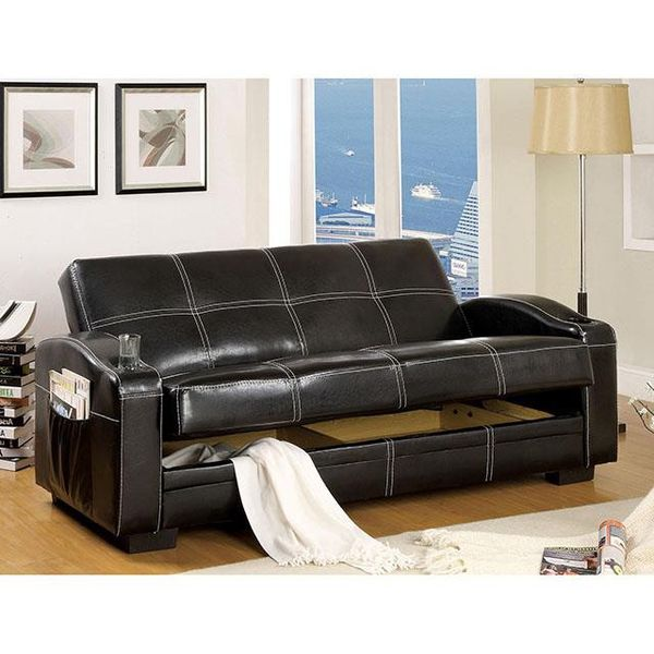 LEATHERETTE FUTON SOFA W/ STORAGE