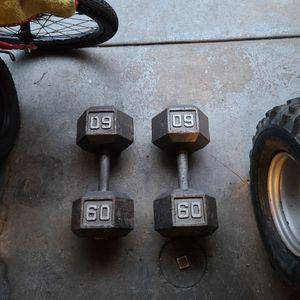 Set Of 60lbs Hex Dumbbells for Sale in Philadelphia, PA