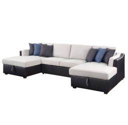 ACME Merill Sectional Sofa w/Sleeper - 56015 - Contemporary - Fabric+PU, Frame: Wood (Eucalyptus+Ply), Foam (D), Metal Sleeper Mechanism, Plastic Leg for Sale in Anaheim,  CA