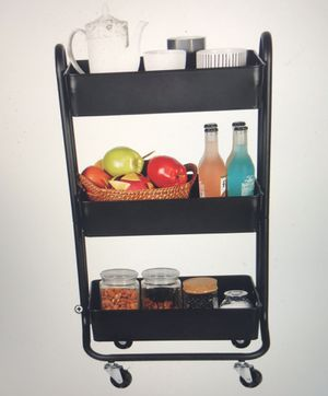 Storage Cart, Designa 3 Tier Metal Rolling Utility Storage Carts Little Organization Cary with Wheels for the Office Indoor Home Kitchen Outdoor, Bla for Sale in Henderson, NV
