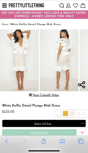 Prettylittlething white ruffle dress for Sale in Orlando, FL