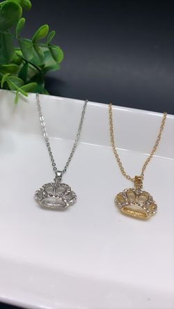 Beautiful Necklace Crown Choker Crystal Pendant Chain Elegant Jewelry, Set of 2 (Silver and Gold) for Sale in Los Angeles,  CA