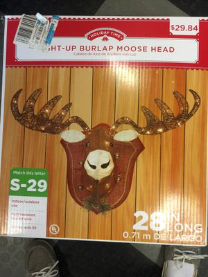 "28"" long light up moose head christmas decorations for Sale in West Palm Beach, FL"