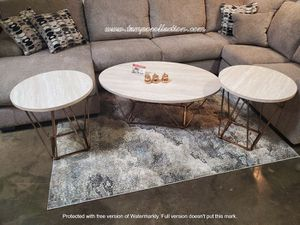 3 PC Coffee Table Set, White/Chrome for Sale in Westminster, CA
