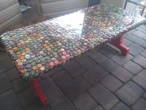Resin bottle caps table bench for Sale in Bartow, FL