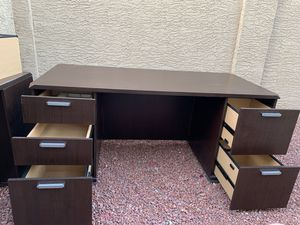 Desk with free chair large executive National Business Furniture solid wood heavy duty for Sale in Glendale, AZ