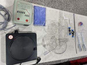 Distillation apparatus organic chemistry lab glassware with heating plate for Sale in Lomita, CA