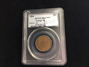 1864 PCGS MS 64 RN 2 cent coin for Sale in Bakersfield, CA