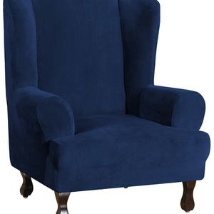 Wing Chair Slipcover Velvet Slipcovers for Wingback Chairs Ultra Soft Plush Sofa Covers for Sale in Murfreesboro, TN