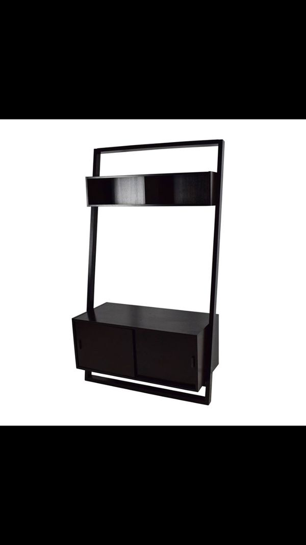 Crate and Barrel Espresso Wood Media Stand | tv entertainment counsel leaning shelf cb2 restoration