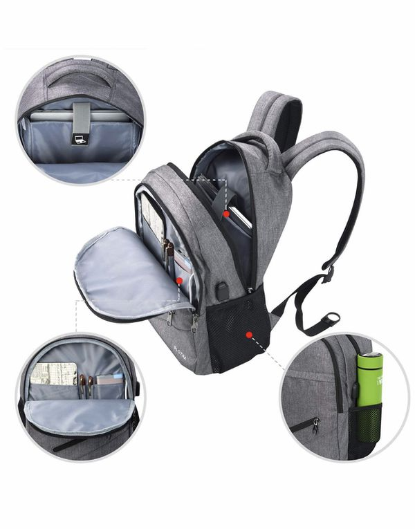 Laptop Backpack with USB Charging Port 14 15 Inch Computer Bag Water Repellent Lightweight Multi-Compartment School Backpack SLOTRA Bag Black Grey