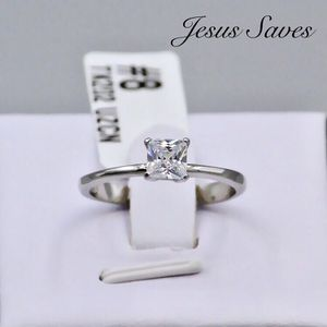 TK202 Stainless Steel Princess Cut Solitaire Ring Size 6/7/8/9 for Sale in Fresno, CA