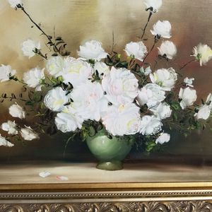 """$175.00 - Antique Oil Painting Of Stunning White Rose's, """"A Relieve"""" - Very Ornate Antique Wood Frame - ON SALE!! for Sale in Miami, FL"""
