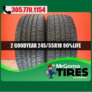 2 GOODYEAR EAGLE RS-A 245/55/18 USED TIRES 9/32 DOT 2018 2019 103V RSA 2455518 for Sale in Miami Gardens, FL