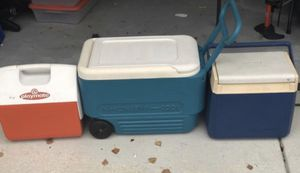 2 Igloo Coolers (one w/ wheels and handle) and 1 Coleman Cooler for Sale in Novato, CA
