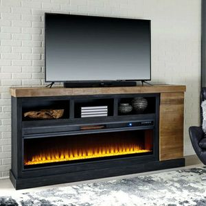 Tonnari Two-tone Brown XL TV Stand with Wide Fireplace Insert | W715-68 🚛IN STOCK /FAST DELIVERY for Sale in Silver Spring, MD