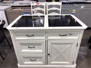 Seaside Lodge Hand Rubbed White Kitchen Island and 2 Stools with Granite Top for Sale in Houston, TX