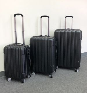 """New $95 Black 3pcs Luggage Travel Set Bag ABS Trolley Rolling Wheels Suitcase 20"""" 24"""" 28"""" for Sale in South El Monte, CA"""