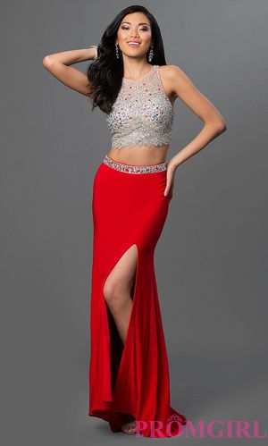 Elegant 2 pc Prom dress red and silver for Sale in Stockton, CA