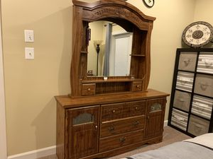 Dresser bed frame and 2 end tables. CASH ONLY bring help to load for Sale in Forest Hill, MD