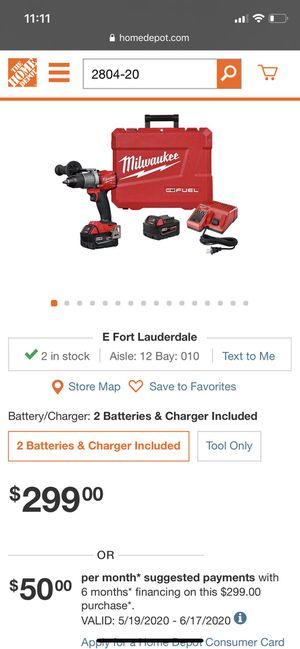 Milwaukee M18 Fuel 18-Volt Lithium-Ion Brushless Cordless 1/2 in. Hammer Drill Driver Kit with Two 5.0 Ah Batteries and Hard Case for Sale in Hollywood, FL