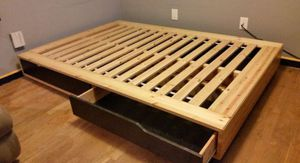 Ikea Platform Low Profile QUEEN Sz Size Bed Frame Bedframe + 4 Huge Clothes Storage Chest Organizer (NO MATTRESS) for Sale in Monterey Park, CA