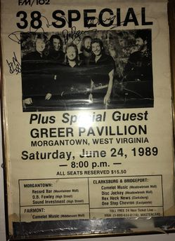 WVAQ FM/102 an BUDWEISER WELCOMES :38 SPECIAL plus special guest. GREER PAVILLION. Morgantown, West Virginia Saturday,June24,1989-8:00p.m. Sign for Sale in Nutter Fort,  WV