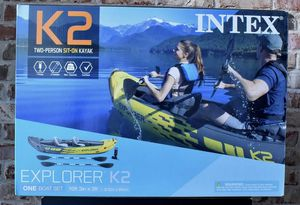 Intex Explorer K2 Kayak, 2-Person Inflatable Kayak Set with Aluminum Oars and High Output Air Pump Brand new sealed box! for Sale in Queens, NY