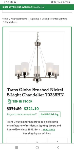 Trans globe brushed nickel chandelier for Sale in Arnold, MO