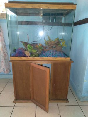 60 gallon fish tank with storage space and stand for Sale in Orlando, FL