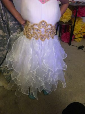 White short ruffle bottom flow dress with gold hand stich beading for Sale in Silver Spring, MD