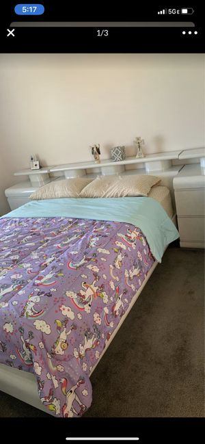 Full size bedroom no mattress with 1 dresser with mirror 2 end tables with drawers and 1 armour with bottom drawers as well excellent condition farme for Sale in Troy, MI
