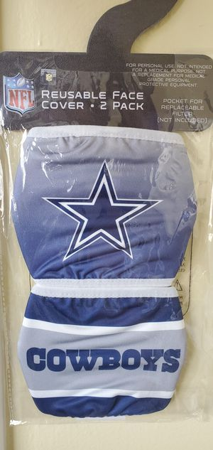 Brand New NFL Dallas Cowboys Football Reusable Face Cover Mask Gray White Blue Star 2 Pack $23.00 for Sale in Gardena, CA