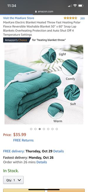 Maxkare comfortable polar fleece heated throw blanket for Sale in Sanford, FL