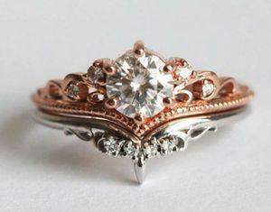 14K Rose Gold Crown Diamond Ring Set in 925 Sterling Silver for Sale in Wichita, KS